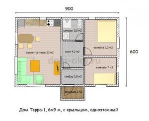 Терра-1, 6х9  50-150м2,План